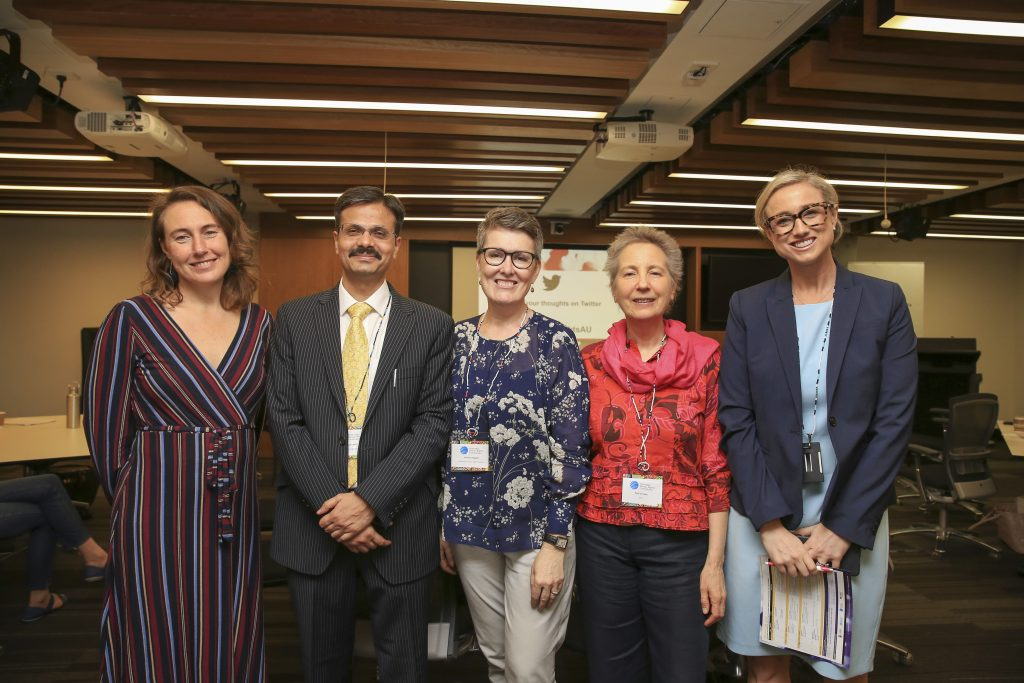 (Dr Shelley Marshall (RMIT), Prof Surya Deva (UN Working Group), Prof Louise Chappell (UNSW Sydney), Dr Kate Grosser (RMIT) and Sarah McGrath (Australian Human Rights Commission). Photo: Roni Bintang)